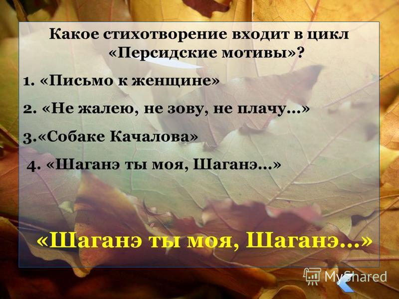 Какое стихотворение входит в цикл «Персидские мотивы»? 1. «Письмо к женщине» 2. «Не жалею, не зову, не плачу...» 3.«Собаке Качалова» 4. «Шаганэ ты моя, Шаганэ...» «Шаганэ ты моя, Шаганэ...»