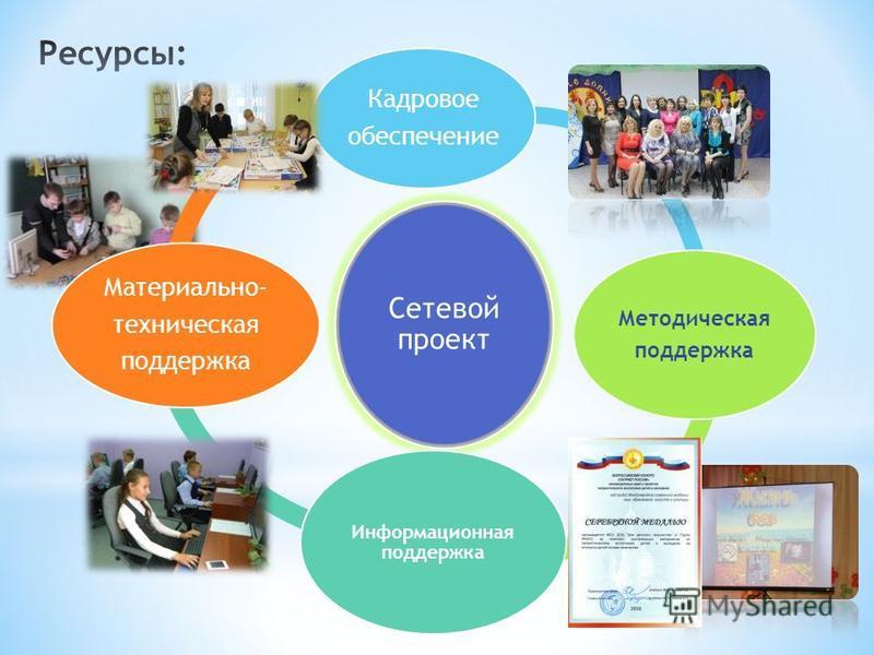 Сетевой проект Кадровое обеспечение Методическая поддержка Информационная поддержка Материально- техническая поддержка