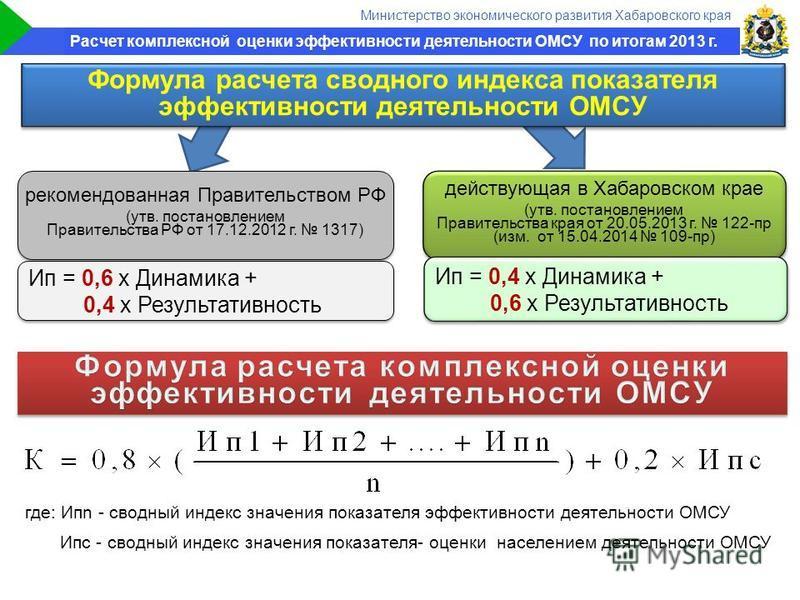Правительство края где: Ипn - сводный индекс значения показателя эффективности деятельности ОМСУ Ипс - сводный индекс значения показателя- оценки населением деятельности ОМСУ Формула расчета сводного индекса показателя эффективности деятельности ОМСУ