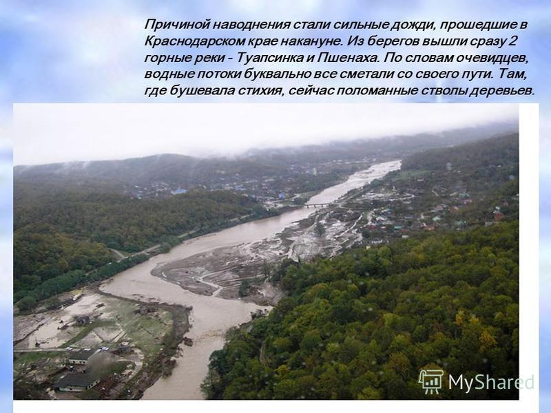 Причиной наводнения стали сильные дожди, прошедшие в Краснодарском крае накануне. Из берегов вышли сразу 2 горные реки - Туапсинка и Пшенаха. По словам очевидцев, водные потоки буквально все сметали со своего пути. Там, где бушевала стихия, сейчас по