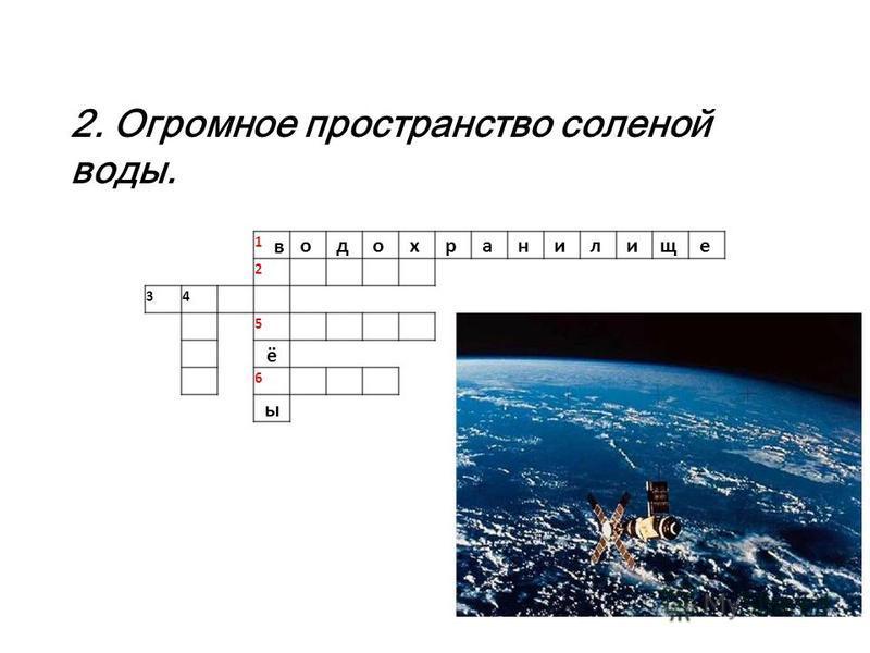 1 в о д о х р а н и л и щ е 2 34 5 ё 6 ы 2. Огромное пространство соленой воды.