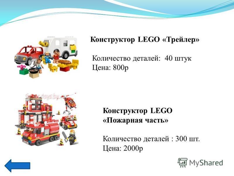Характеристики Конструктор LEGO - Lego Duplo 5655 Трейлер Конструктор LEGO «Трейлер» Количество деталей: 40 штук Цена: 800 р Конструктор LEGO «Пожарная часть» Количество деталей : 300 шт. Цена: 2000 р