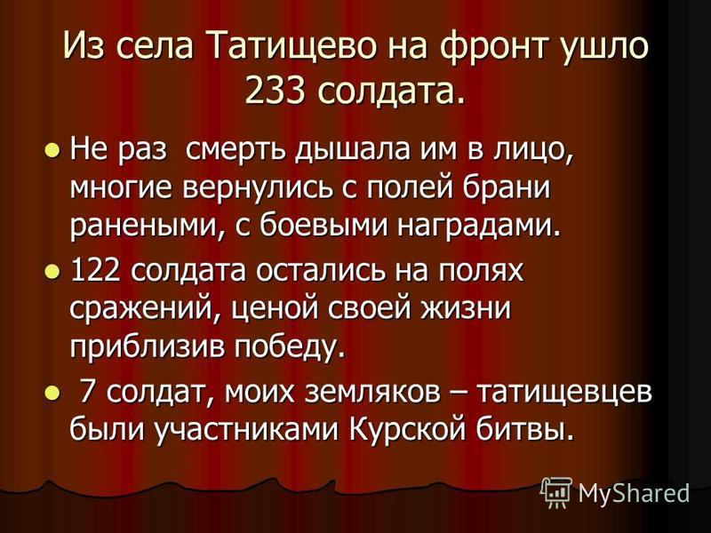 Из села Татищево на фронт ушло 233 солдата. Не раз смерть дышала им в лицо, многие вернулись с полей брани ранеными, с боевыми наградами. Не раз смерть дышала им в лицо, многие вернулись с полей брани ранеными, с боевыми наградами. 122 солдата остали