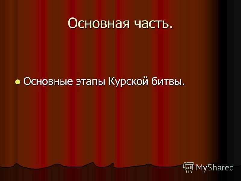 Основная часть. Основные этапы Курской битвы. Основные этапы Курской битвы.