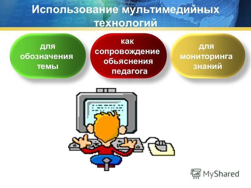 Использование мультимедийных технологий для обозначения темы для обозначения темы как сопровождение объяснения педагога как сопровождение объяснения педагога для мониторинга знаний для мониторинга знаний