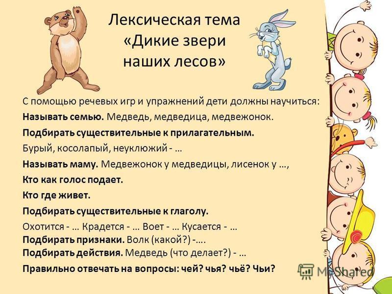 Лексическая тема «Дикие звери наших лесов» С помощью речевых игр и упражнений дети должны научиться: Называть семью. Медведь, медведица, медвежонок. Подбирать существительные к прилагательным. Бурый, косолапый, неуклюжий - … Называть маму. Медвежонок