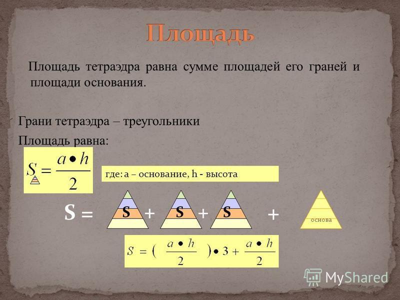 Площадь тетраэдра равна сумме площадей его граней и площади основания. Грани тетраэдра – треугольники Площадь равна: + основа S = ++ SS + S где: а – основание, h - высота