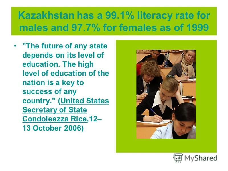 Kazakhstan has a 99.1% literacy rate for males and 97.7% for females as of 1999