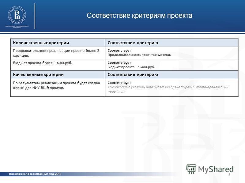 5 Высшая школа экономики, Москва, 2015 Соответствие критериям проекта Количественные критерии Соответствие критерию Продолжительность реализации проекта более 2 месяцев. Соответствует Продолжительность проекта N месяца. Бюджет проекта более 1 млн.руб