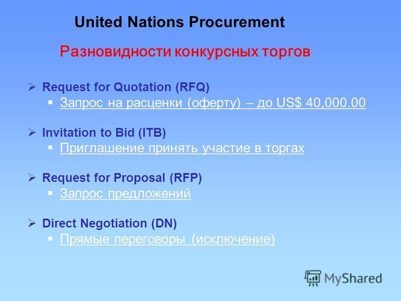 Request for Quotation (RFQ) Запрос на расценки (оферту) – до US$ 40,000.00 Invitation to Bid (ITB) Приглашение принять участие в торгах Request for Proposal (RFP) Запрос предложений Direct Negotiation (DN) Прямые переговоры (исключение) United Nation