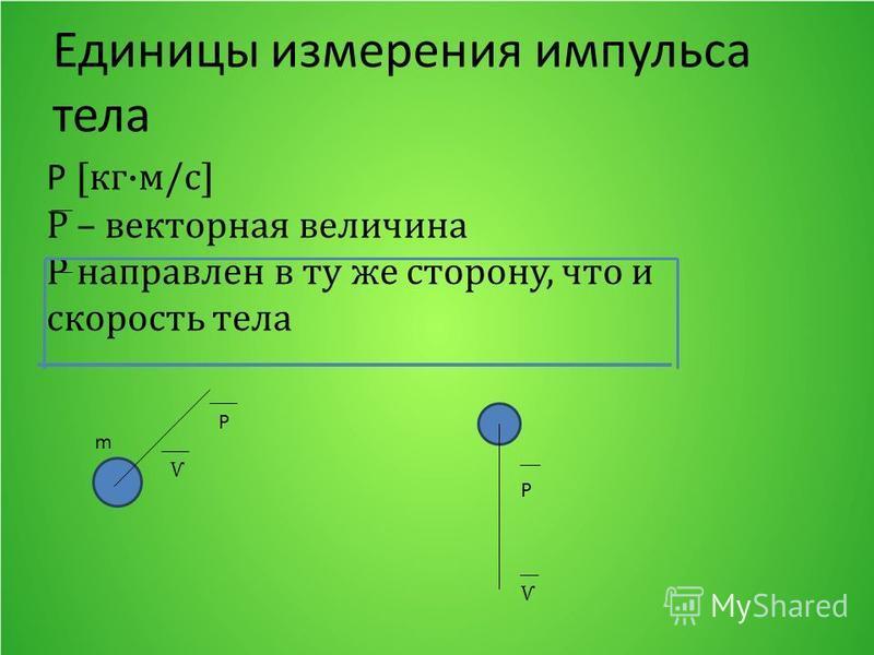 Единицы измерения импульса тела Р [кг·м/с] Р – векторная величина Р направлен в ту же сторону, что и скорость тела m Ѵ P Ѵ P