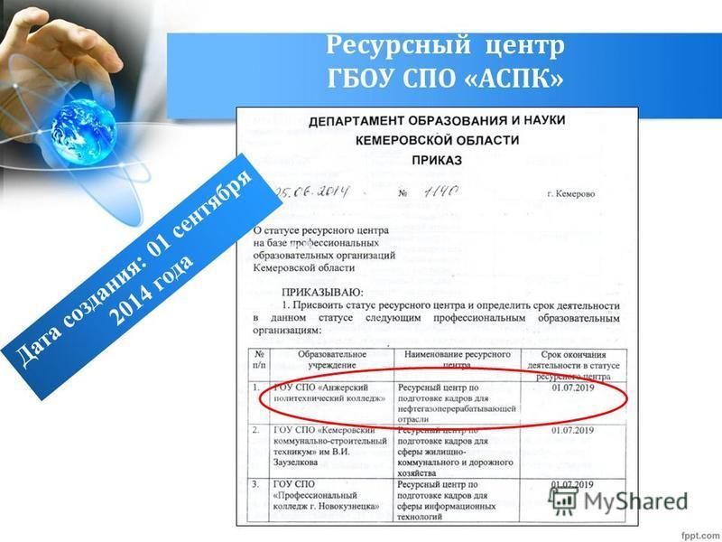 Ресурсный центр ГБОУ СПО «АСПК» Дата создания: 01 сентября 2014 года
