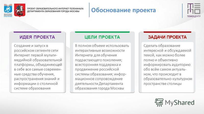 ИДЕЯ ПРОЕКТАЦЕЛИ ПРОЕКТА ЗАДАЧИ ПРОЕКТА Создание и запуск в российском сегменте сети Интернет первой мульти- медийной образовательной платформы, объединяющей в себе все самые современные средства обучения, распространения знаний и информации о столич