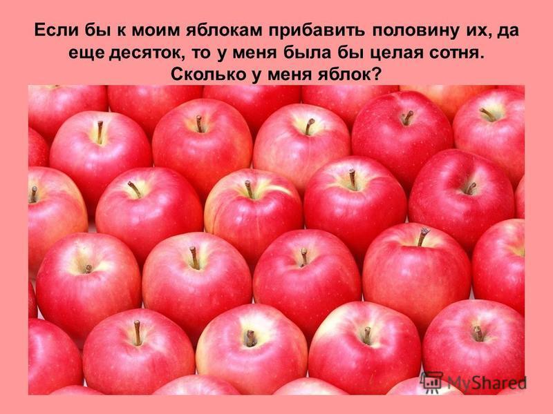 Если бы к моим яблокам прибавить половину их, да еще десяток, то у меня была бы целая сотня. Сколько у меня яблок?