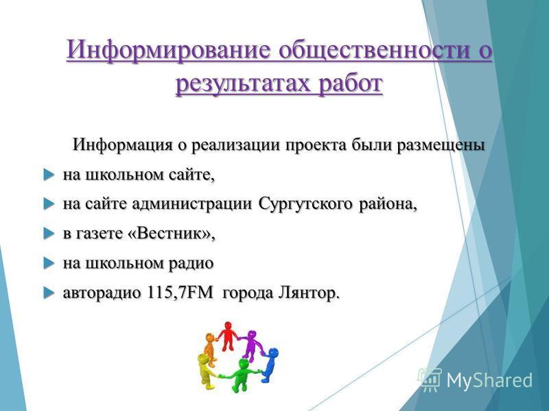 Информирование общественности о результатах работ Информация о реализации проекта были размещены на школьном сайте, на школьном сайте, на сайте администрации Сургутского района, на сайте администрации Сургутского района, в газете «Вестник», в газете