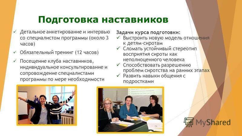 Подготовка наставников Детальное анкетирование и интервью со специалистом программы (около 3 часов) Обязательный тренинг (12 часов) Посещение клуба наставников, индивидуальное консультирование и сопровождение специалистами программы по мере необходим