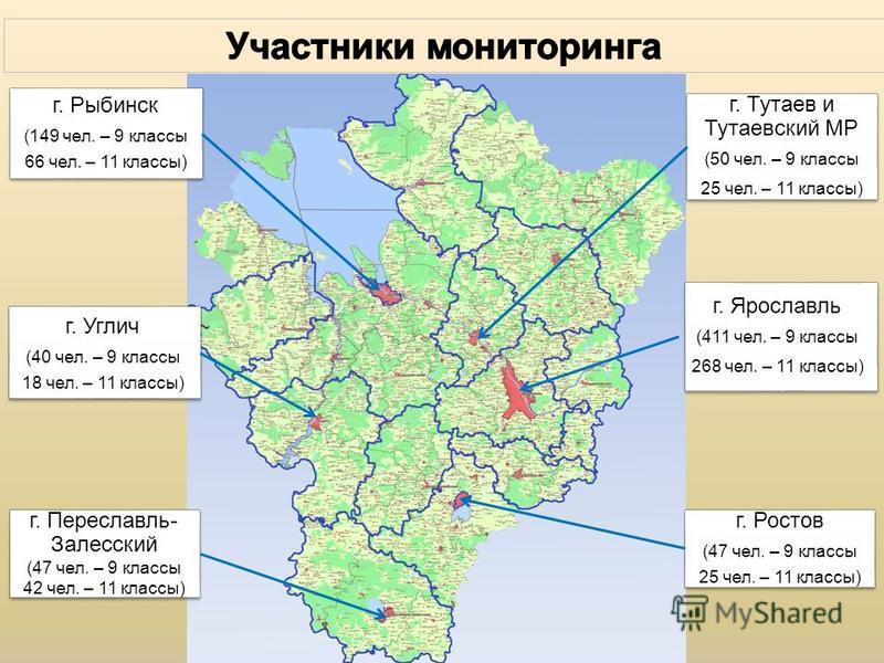 г. Ярославль (411 чел. – 9 классы 268 чел. – 11 классы) г. Рыбинск (149 чел. – 9 классы 66 чел. – 11 классы) г. Переславль- Залесский (47 чел. – 9 классы 42 чел. – 11 классы) г. Тутаев и Тутаевский МР (50 чел. – 9 классы 25 чел. – 11 классы) г. Росто