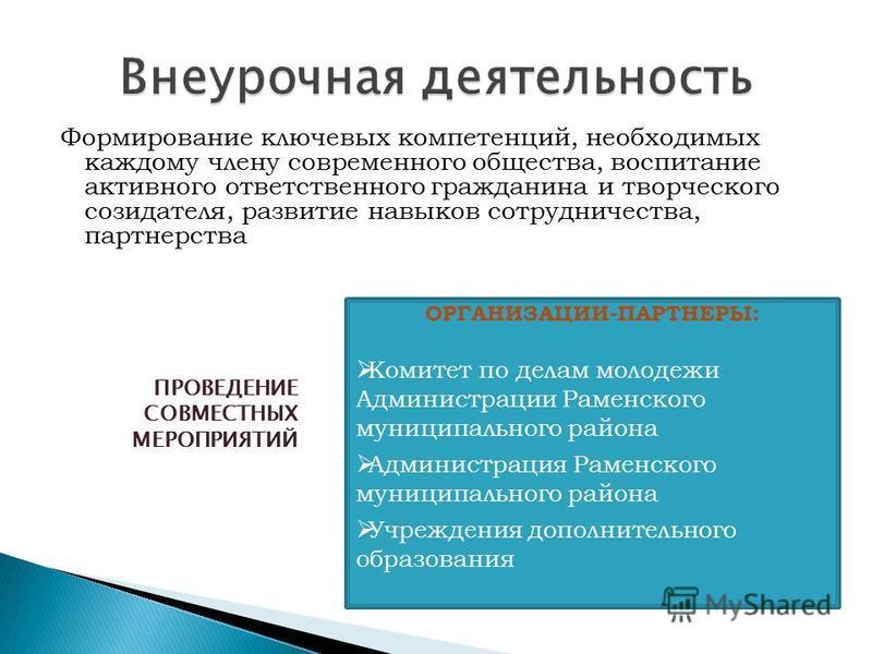 Формирование ключевых компетенций, необходимых каждому члену современного общества, воспитание активного ответственного гражданина и творческого созидателя, развитие навыков сотрудничества, партнерства ОРГАНИЗАЦИИ-ПАРТНЕРЫ: Комитет по делам молодежи
