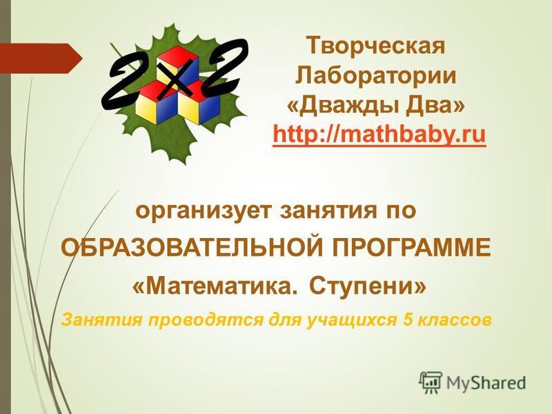 Творческая Лаборатории «Дважды Два» http://mathbaby.ruhttp://mathbaby.ru организует занятия по ОБРАЗОВАТЕЛЬНОЙ ПРОГРАММЕ «Математика. Ступени» Занятия проводятся для учащихся 5 классов