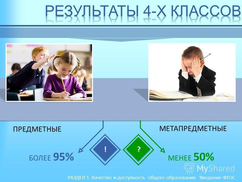 РАЗДЕЛ 1. Качество и доступность общего образования. Введение ФГОС ПРЕДМЕТНЫЕ МЕТАПРЕДМЕТНЫЕ БОЛЕЕ 95% МЕНЕЕ 50% !?