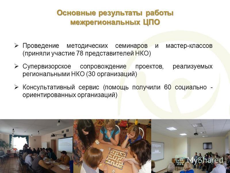 Основные результаты работы межрегиональных ЦПО Проведение методических семинаров и мастер-классов (приняли участие 78 представителей НКО) Супервизорское сопровождение проектов, реализуемых региональными НКО (30 организаций) Консультативный сервис (по