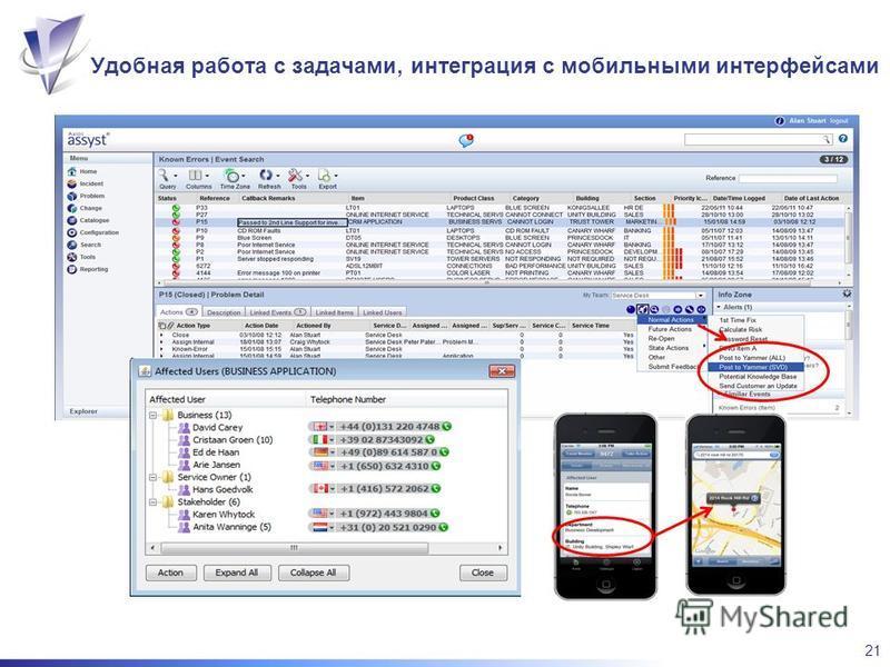 21 Удобная работа с задачами, интеграция с мобильными интерфейсами