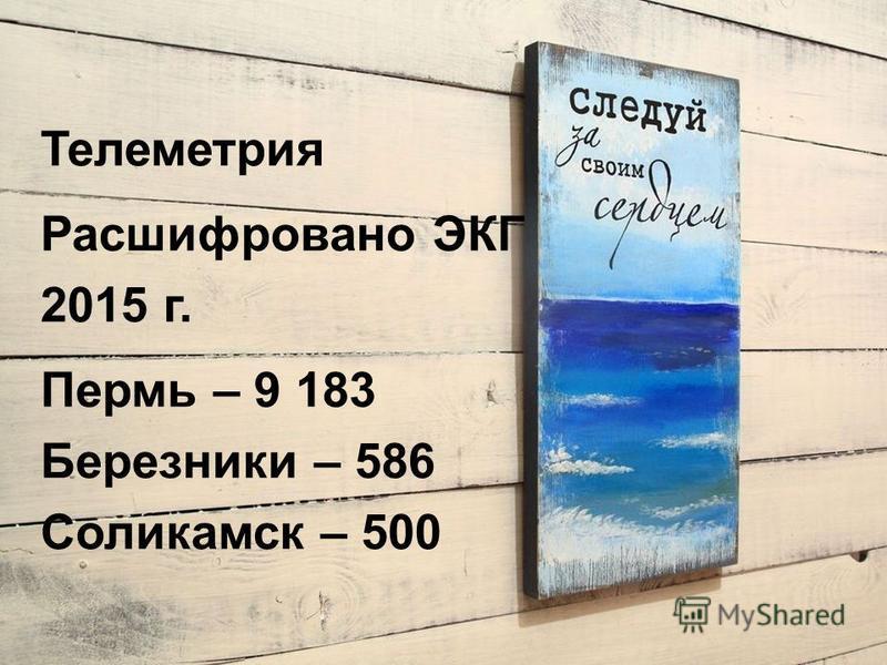 Телеметрия Расшифровано ЭКГ 2015 г. Пермь – 9 183 Березники – 586 Соликамск – 500