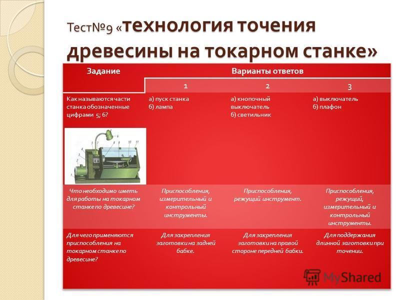 Тест 9 « технология точения древесины на токарном станке »