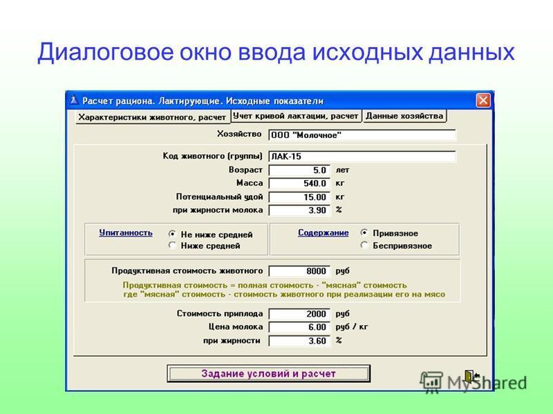Диалоговое окно ввода исходных данных