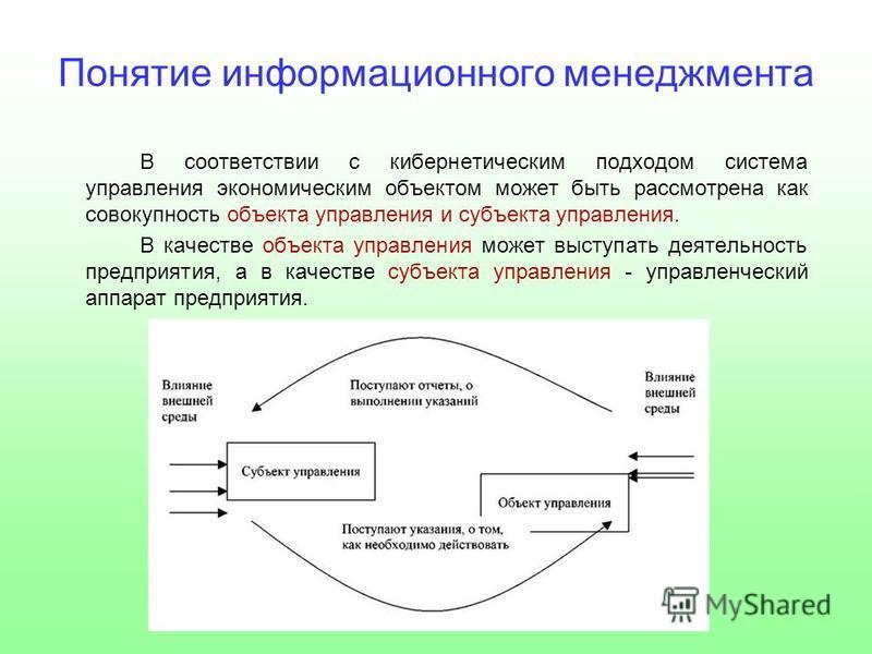 Понятие информационного менеджмента В соответствии с кибернетическим подходом система управления экономическим объектом может быть рассмотрена как совокупность объекта управления и субъекта управления. В качестве объекта управления может выступать де
