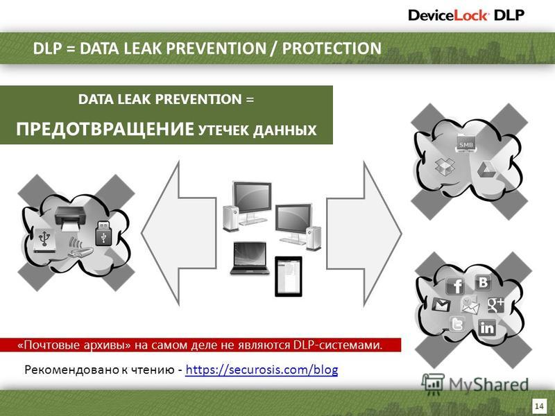 14 DLP = DATA LEAK PREVENTION / PROTECTION DATA LEAK PREVENTION = ПРЕДОТВРАЩЕНИЕ УТЕЧЕК ДАННЫХ «Почтовые архивы» на самом деле не являются DLP-системами. Рекомендовано к чтению - https://securosis.com/bloghttps://securosis.com/blog