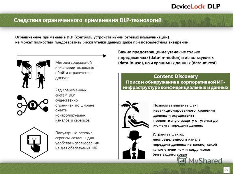 29 Методы социальной инженерии позволяют обойти ограничения доступа Ряд современных систем DLP существенно ограничен по ширине охвата контролируемых каналов и сервисов Популярные сетевые сервисы созданы для удобства использования, не для обеспечения