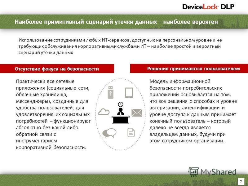 7 Наиболее примитивный сценарий утечки данных – наиболее вероятен Использование сотрудниками любых ИТ-сервисов, доступных на персональном уровне и не требующих обслуживания корпоративными службами ИТ – наиболее простой и вероятный сценарий утечки дан