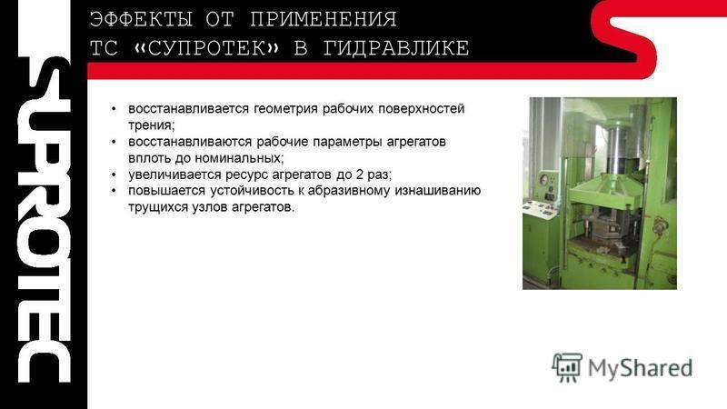 ЭФФЕКТЫ ОТ ПРИМЕНЕНИЯ ТС «СУПРОТЕК» В ГИДРАВЛИКЕ восстанавливается геометрия рабочих поверхностей трения; восстанавливаются рабочие параметры агрегатов вплоть до номинальных; увеличивается ресурс агрегатов до 2 раз; повышается устойчивость к абразивн