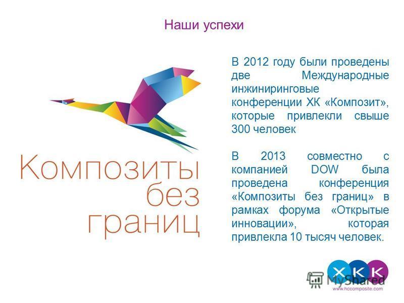 Текст слайда В 2012 году были проведены две Международные инжиниринговые конференции ХК «Композит», которые привлекли свыше 300 человек В 2013 совместно с компанией DOW была проведена конференция «Композиты без границ» в рамках форума «Открытые иннов