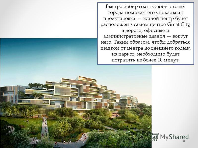 Быстро добираться в любую точку города поможет его уникальная проектировка жилой центр будет расположен в самом центре Great City, а дороги, офисные и административные здания вокруг него. Таким образом, чтобы добраться пешком от центра до внешнего ко