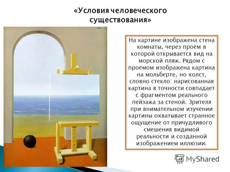 На картине изображена стена комнаты, через проём в которой открывается вид на морской пляж. Рядом с проёмом изображена картина на мольберте, но холст, словно стекло: нарисованная картина в точности совпадает с фрагментом реального пейзажа за стеной.