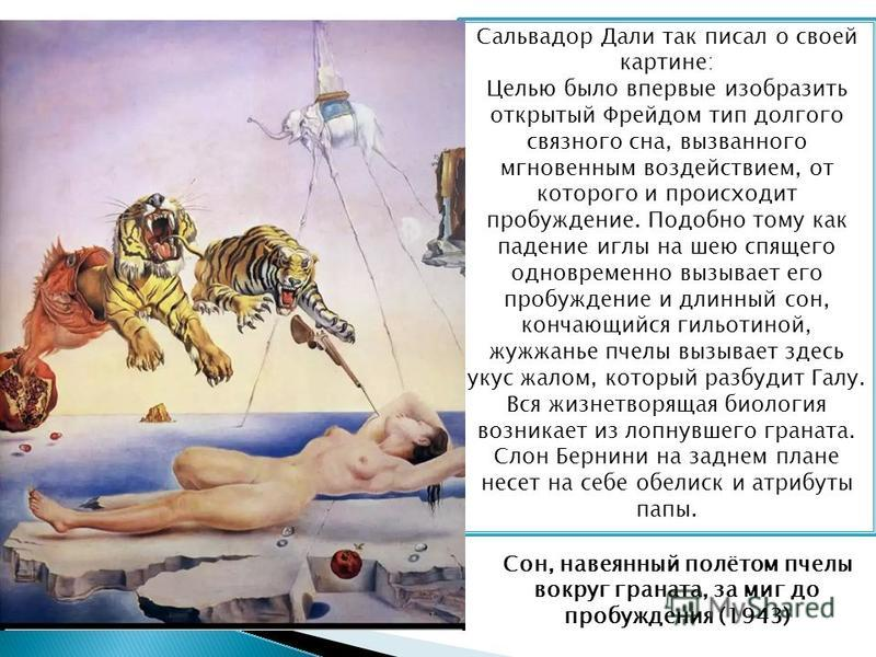 Сальвадор Дали так писал о своей картине: Целью было впервые изобразить открытый Фрейдом тип долгого связного сна, вызванного мгновенным воздействием, от которого и происходит пробуждение. Подобно тому как падение иглы на шею спящего одновременно выз