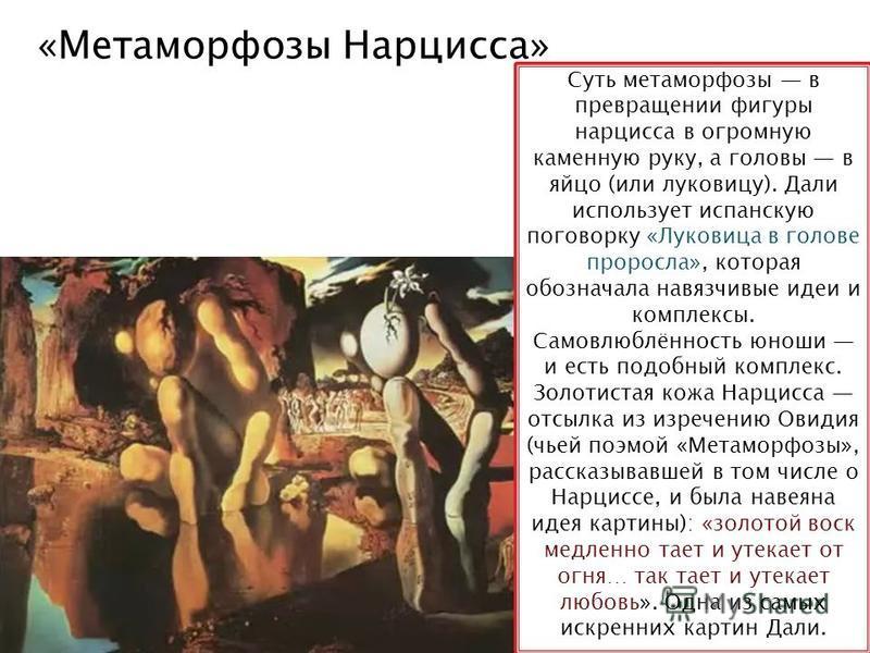 «Метаморфозы Нарцисса» Суть метаморфозы в превращении фигуры нарцисса в огромную каменную руку, а головы в яйцо (или луковицу). Дали использует испанскую поговорку «Луковица в голове проросла», которая обозначала навязчивые идеи и комплексы. Самовлюб