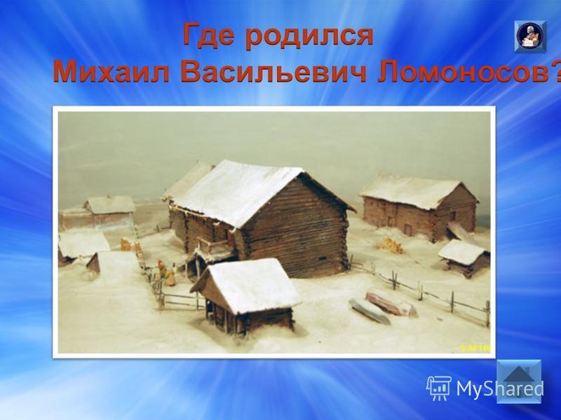 М.В.Ломоносов родился в деревне Мишанинская на острове, расположенном в низовьях реки Северная Двина.