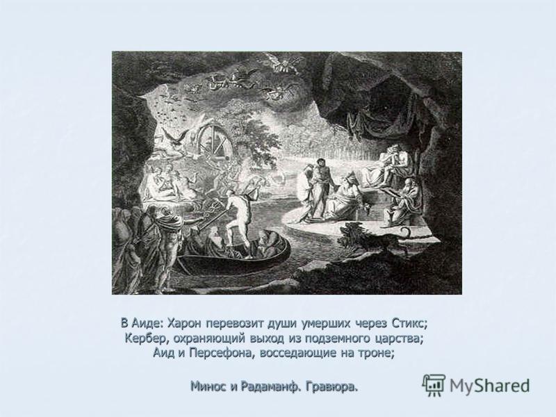 В Аиде: Харон перевозит души умерших через Стикс; Кербер, охраняющий выход из подземного царства; Аид и Персефона, восседающие на троне; Минос и Радаманф. Гравюра.