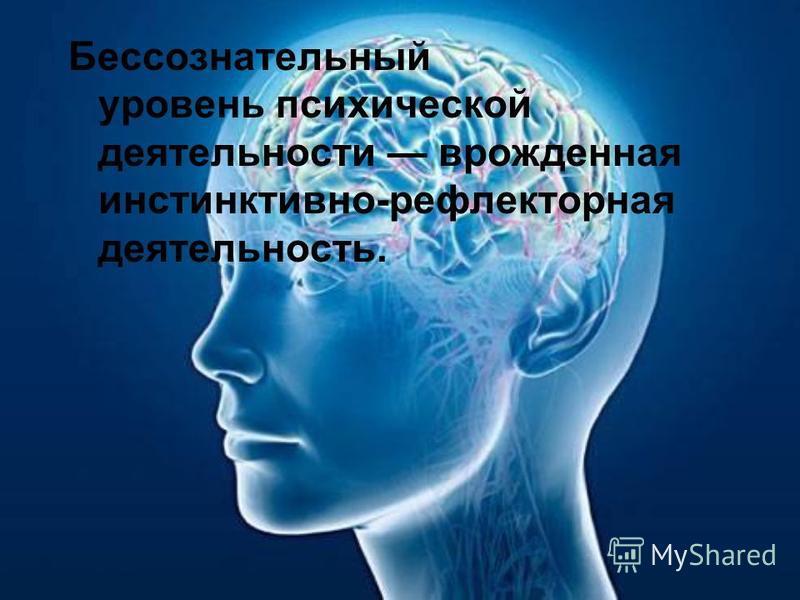 Бессознательный уровень психической деятельности врожденная инстинктивно-рефлекторная деятельность.