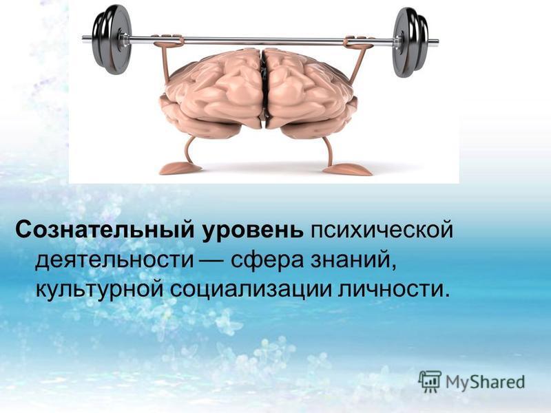 Сознательный уровень психической деятельности сфера знаний, культурной социализации личности.