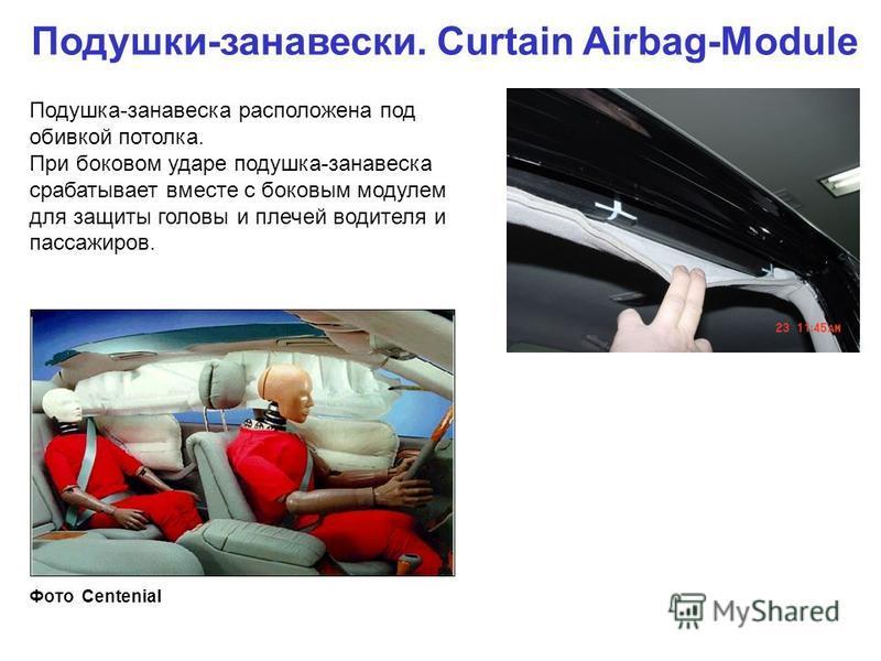 Подушки-занавески. Curtain Airbag-Module Подушка-занавеска расположена под обивкой потолка. При боковом ударе подушка-занавеска срабатывает вместе с боковым модулем для защиты головы и плечей водителя и пассажиров. Фото Centenial
