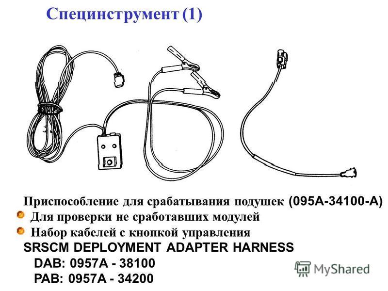 Специнструмент (1) Приспособление для срабатывания подушек (095A-34100-A) Для проверки не сработавших модулей Набор кабелей с кнопкой управления SRSCM DEPLOYMENT ADAPTER HARNESS DAB: 0957A - 38100 PAB: 0957A - 34200