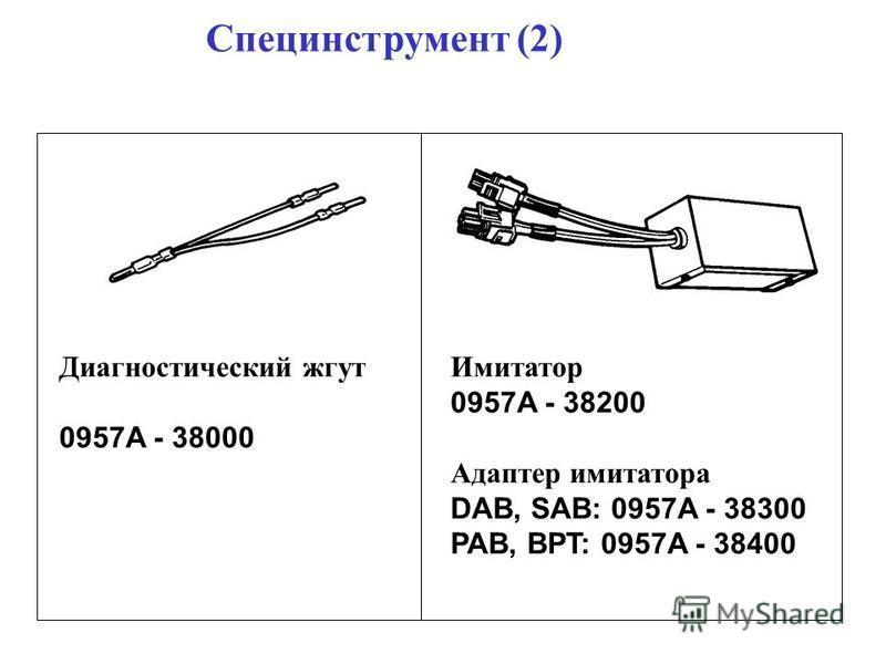 Специнструмент (2) Диагностический жгут 0957A - 38000 Имитатор 0957A - 38200 Адаптер имитатора DAB, SAB: 0957A - 38300 PAB, BPT: 0957A - 38400