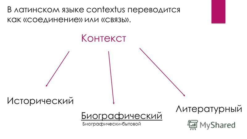 Исторический Биографический Биографически-бытовой Литературный Контекст В латинском языке contextus переводится как «соединение» или «связь».