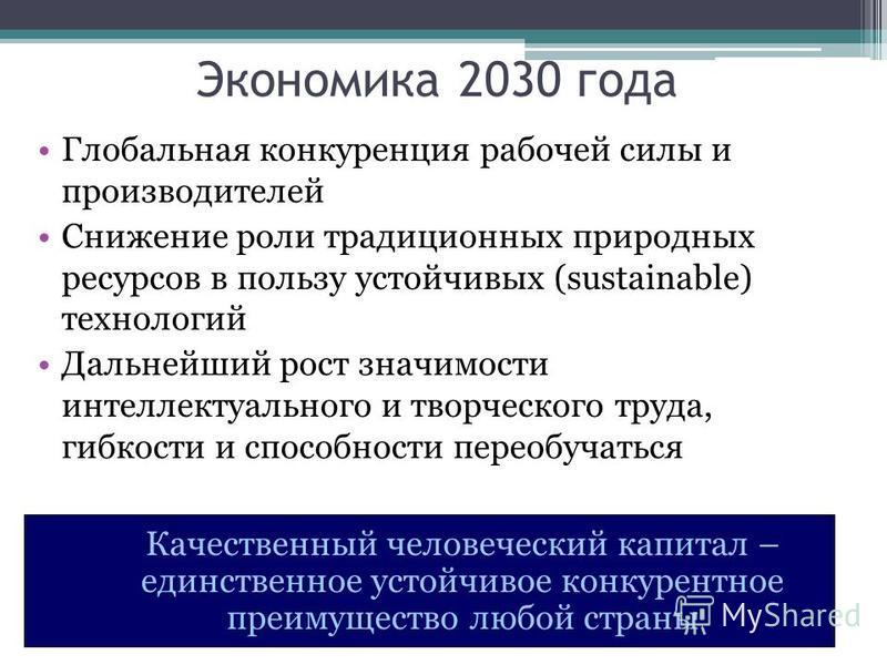 Экономика 2030 года Глобальная конкуренция рабочей силы и производителей Снижение роли традиционных природных ресурсов в пользу устойчивых (sustainable) технологий Дальнейший рост значимости интеллектуального и творческого труда, гибкости и способнос