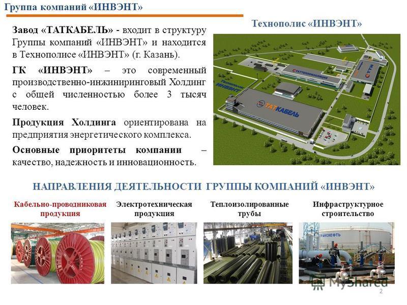 Завод «ТАТКАБЕЛЬ» - входит в структуру Группы компаний «ИНВЭНТ» и находится в Технополисе «ИНВЭНТ» (г. Казань). ГК «ИНВЭНТ» – это современный производственно-инжиниринковый Холдинк с общей численностью более 3 тысяч человек. Продукция Холдинка ориент