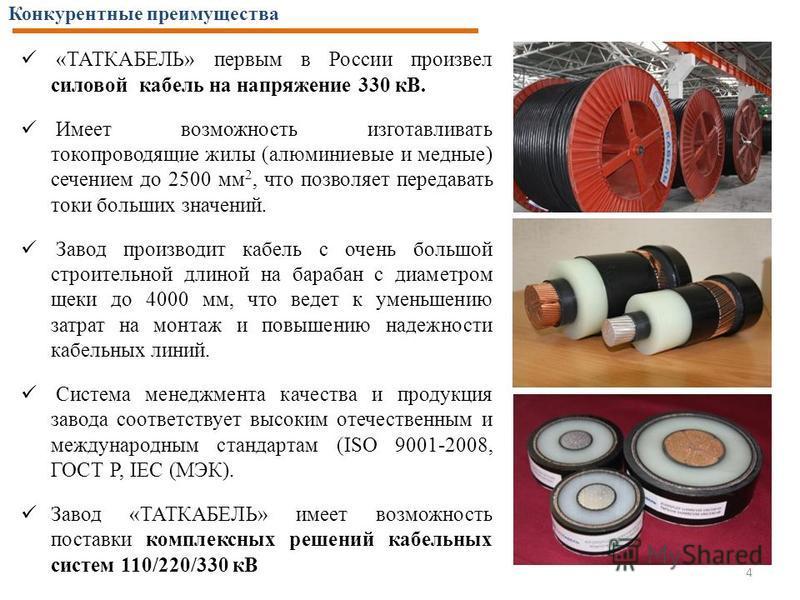 Конкурентные преимущества 4 «ТАТКАБЕЛЬ» первым в России произвел силовой кабель на напряжение 330 кВ. Имеет возможность изготавливать токопроводящие жилы (алюминиевые и медные) сечением до 2500 мм 2, что позволяет передавать токи больших значений. За